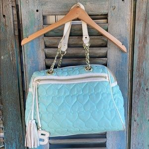 Betsey Johnson quilted heart mint duffle purse
